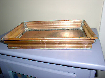 "Antique Copper Plant Tray Trough Heavy Drip Pan Hand Wrought 2+lbs 9x13"" Elegant"
