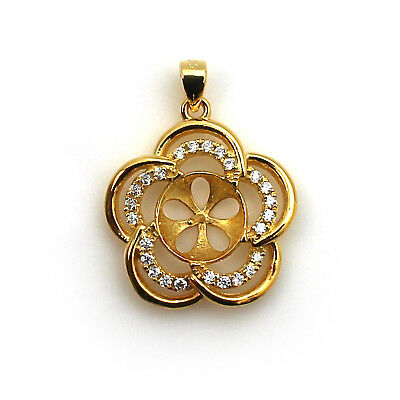 Gold Over Sterling Silver and CZ Flower Pearl Cup and Peg Bail Pendant (1 pc)