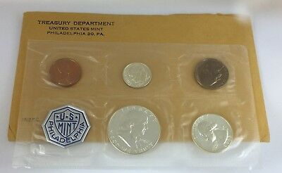 1962 US Mint 5 Coin Proof Set Original Envelope 90% Silver Franklin Washington