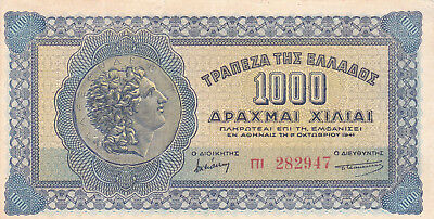 1000 Drachmai Very Fine+ Banknote German Occupied Greece 1941!pick-117