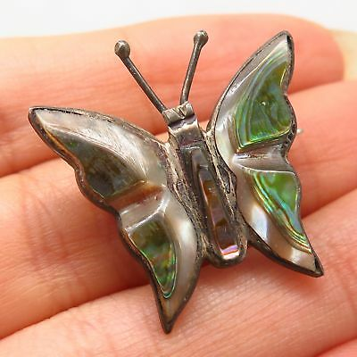 Vtg Mexico 925 Sterling Silver Abalone Shell Butterfly Design Pin Brooch