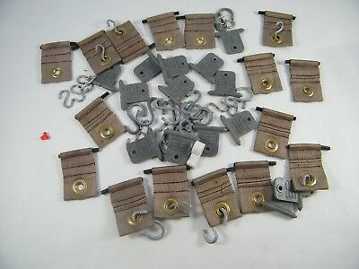 Lot Of Canvas Straps With Grommets And Rubber Straps With Hooks