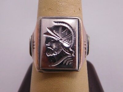 Antique Vintage Sterling Silver Gold Filled Greek Roman Warrior Size 10 Ring