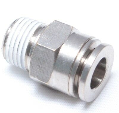 """10pc Push to Connect Male ROUND Fittings 3//8/"""" x 1//4/"""" NPT MettleAir MTCR3//8-N02"""