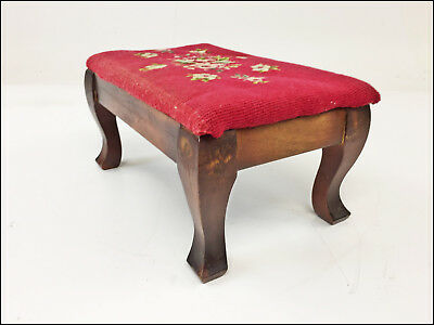 Vintage NEEDLEPOINT FOOT STOOL wood upholstered ottoman wooden rest victorian