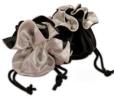 POUCH - Black & Silver Reversible Satin Pouch w/Silk Lining & Drawstring Closure