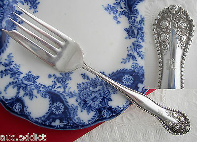 Antique 1910 EHH Smith YORK ROSE LaFrance ROSE Silver Plate SERVING FORK Oneida