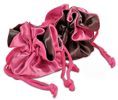 POUCH - Pink & Gray Reversible Satin Pouch w/Silk Lining & Drawstring Closure