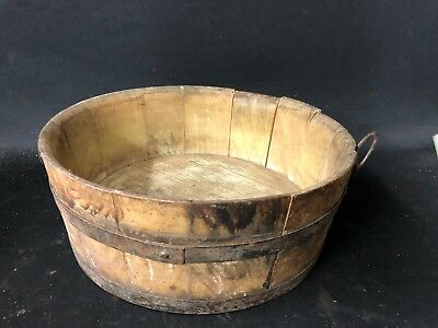 ANTIQUE WOODEN BUCKET Ca 1850 OLD COLOR  BARN FRESH