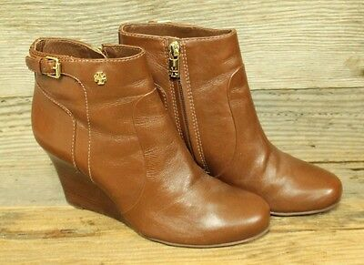 4b94c29175b8 See Details. Tory Burch Milan Womens Brown Leather Side Zip Ankle Bootie  Wedbe Boots Sz 8M