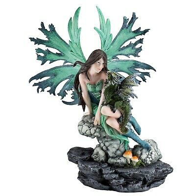 """Green Fairy On Rock With Dragon Figurine Statue 12.25"""" High New In Box"""