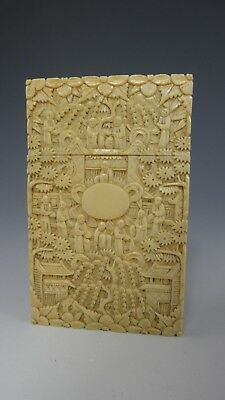 Chinese 19th c Canton finely carved card case