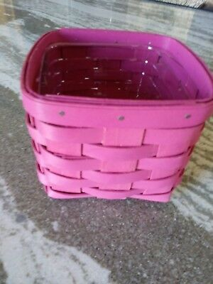 Longaberger RARE BRIGHTS Pink Teaspoon basket &prot Mint Condition FREE SHIPPING