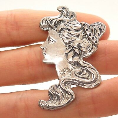 Antique Art Nouveau 925 Sterling Silver Victorian Lady Large Pin Brooch