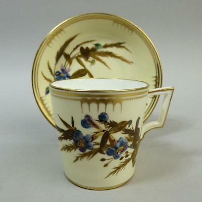 Antique Royal Crown Derby Aesthetic Porcelain Cabinet Cup & Saucer C.1885