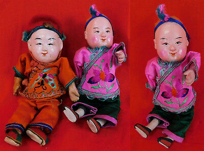 Antique Chinese Manchu Composition Boy Dolls Pair 2 Silk Embroidered Robes Vtg