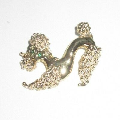 Gerry's Signed Pin Brooch Gold Tone Poodle Dog Green Rhinestone Vintage Bin7