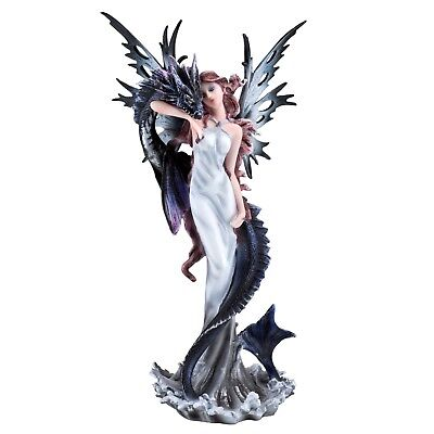 """White Fairy With Sea Serpent Water Dragon Figurine Statue 10.25"""" High New In Box"""