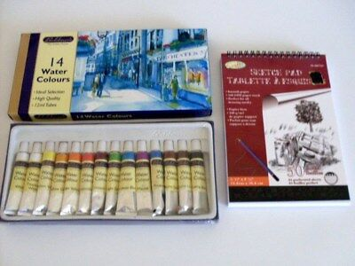 WATER COLOURS, BRAND NEW BOX. 14 x 12 ml TUBES, + NEW SKETCH PAD.