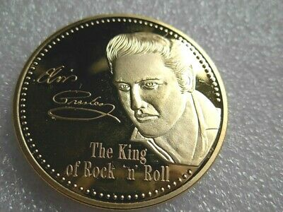 Elvis Presley Commemorative gold Coin. The King.of Rock n Roll