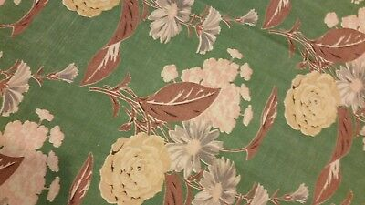 Vintage Barkcloth Curtain Panel Green With Soft Colored Pink Grey Brn