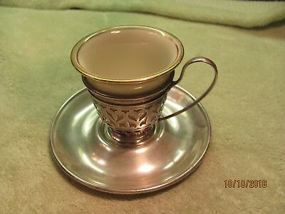 An Antique Gorham Sterling Silver Lenox Pottery Demitasse Cup & Saucer A5549 50