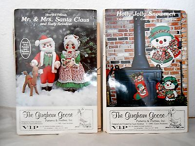 "2 Vintage 1980 Sewing Patterns 22"" MR. & MRS CLAUS, RUDY & HOLLY JOLLY SNOWMEN"