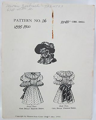 """Carter Craft Doll House Sewing Pattern #16 FRENCH Dress 1895-1900 - 20-22"""" Doll"""