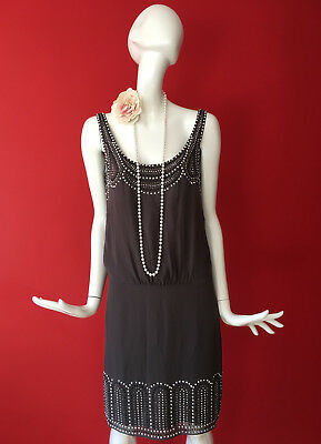 Warehouse Grey Embellished Flapper 1920s Gatsby Charleston Dress Size 10