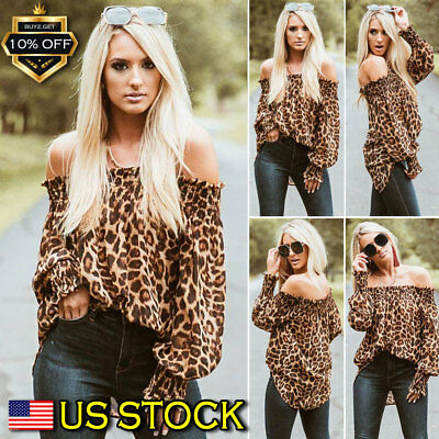 Women's Sexy Off Shoulder Long Sleeve Top Ladies Print Leopard Blouse Loose USA