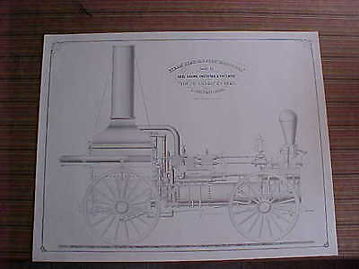 "Large 24"" By 30"" Patent Drawing Steam Fire Engine ""missouri"" Built By Abel Shawk"
