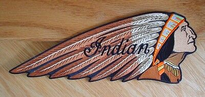 Large Brown Indian Motorcycle Chief Patch Late 1930's Chief Gas Tank Emblem Look