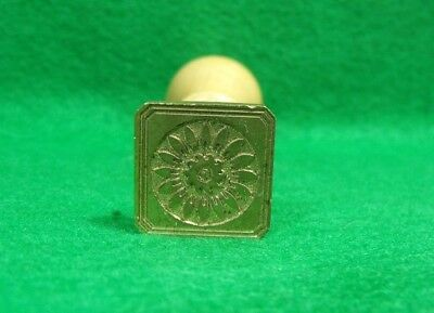 Vtg Style Brass & Wood Square Flower Sealing Wax Stamp Seal