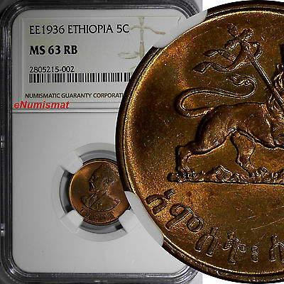 Ethiopia Copper EE1936 (1943-1944)5Cent,Amist Santeem NGC MS63 RB Nice Red KM#33