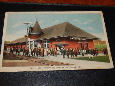 Very early postcard view Frisco Railroad depot Fayetteville,Arkansas-unposted