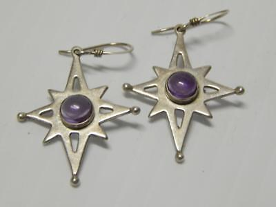 Vintage Mid Century Mexican Sterling Silver Amethyst Atomic Era Earrings Mexico