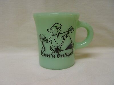 Fire-King Oven Ware Jadite Bun 'N Burger Hamburgers Restaurant Coffee Mug