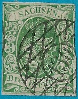 + 1851 Saxony German States Arms Crest #2 A2 3pf Small Town No.130-Thum