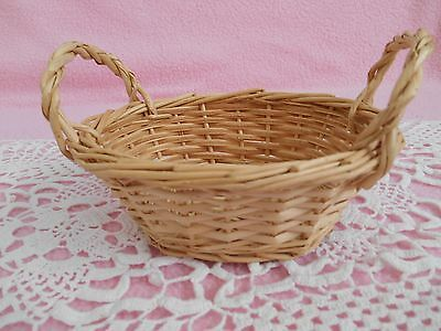 Vintage / Antique  Small Oval  Woven  Ivory Basket  With Two Handles