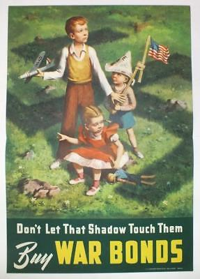 "Original Wwii War Bonds Poster ""don't Let That Shadow Touch Them"" Beall Smith"