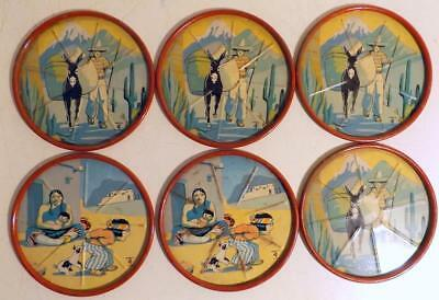 Lot of 6 Vtg 3-inch Colorful Tin Drink Coasters w Southwest Themes c1950s