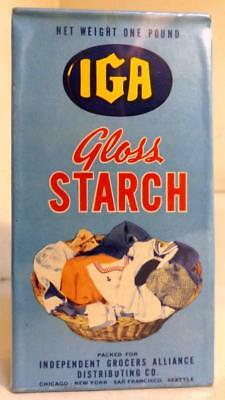 Vtg Full Unopened Box IGA Gloss Laundry Starch Old Store Stock c1940s