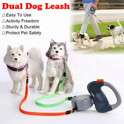 Retractable Lead Leash Double Tangle Dual Doggie 2 Dog 50 Pounds For Dog 2 Way