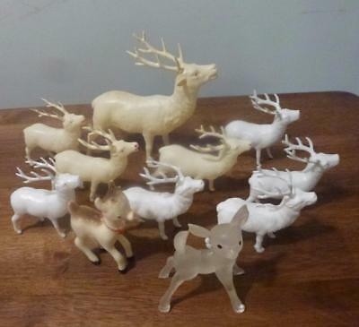 Lot of 11 Vintage Christmas Reindeer Figurines Made Occupied Japan Plastic
