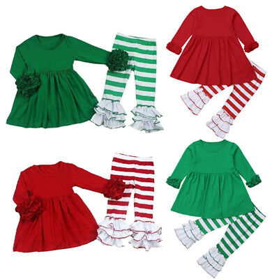 Christmas Toddler Baby Girls Striped Cotton Top Dress Pants Outfits Clothes USA
