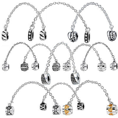 European silver saftey chain 925 charms bead Fit sterling charm Bracelet Bangle