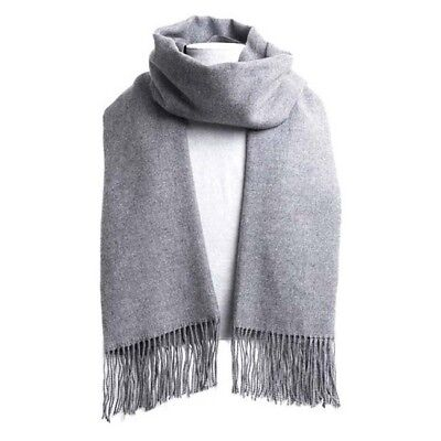 Womens Winter Soft Faux Cashmere Silk Solid Long Pashmina Shawl Wrap Scarf BS