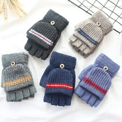 Kids Winter Warm Gloves Knited Stretchy Mitten Gloves Half Finger Gloves 1 pair