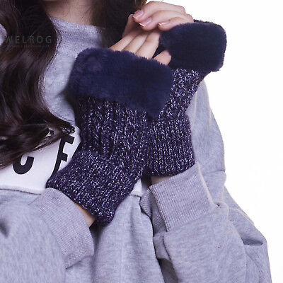 Ladies Winter Gloves Wrist Warm Knitted Fingerless Glove Thicken Wool Mittens