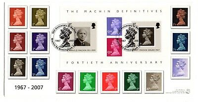 GB 2007 40th Anniversary of Machins FDC incl 1967-8 set. Very limited edition